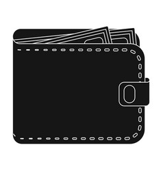 black leather purse with money dollar taxi vector image
