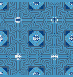 blue ornamental greek seamless pattern ornate vector image