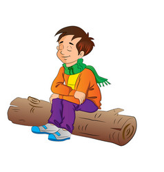 boy sitting on a log vector image