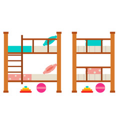 bunk bed with trundle cartoon flat icon set vector image