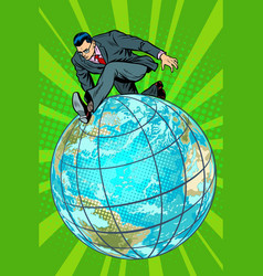 businessman walking on the planet vector image