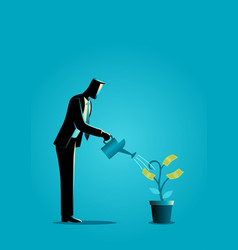 Businessman watering young plant with dollar vector