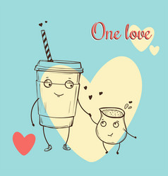 card with cartoon characters in love on vector image