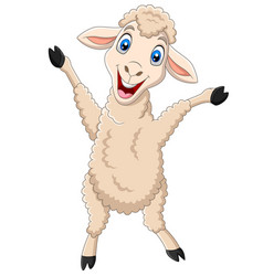 Cartoon happy lamb isolated on white background vector