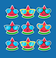 Cartoon watermelon emojis with sunglasses vector