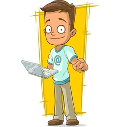 Cartoon young programmer with laptop vector