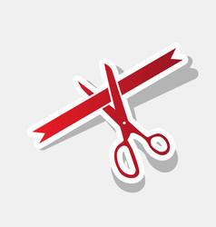 ceremony ribbon cut sign new year reddish vector image