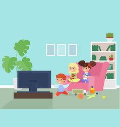 children watching tv flat vector image