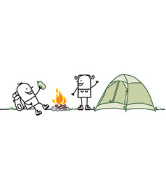 Couple with camping tent vector