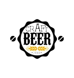 Craft Beer Round Logo Design Template vector image