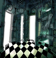 Dark Room with Many Doors vector image