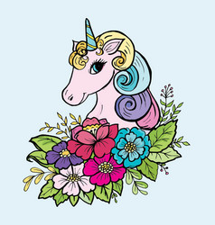 doodle cute unicorn in the colors of the color vector image
