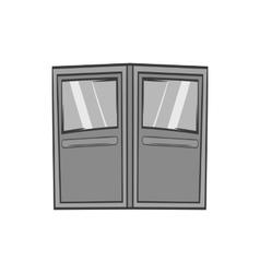 Double door for restaurant icon monochrome style vector image