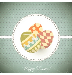 easter eggs - old postcard in vintage style vector image