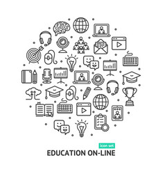 education online round design template thin line vector image