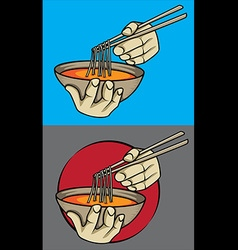 Exotic asian spicy noodle soup chopsticks vector