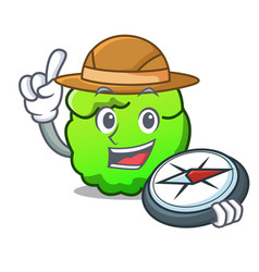 Explorer shrub mascot cartoon style vector