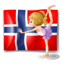 Flag of the Bouvet Island with a girl vector
