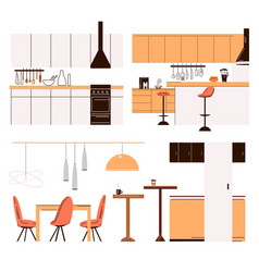 flat collection home kitchen modern vector image