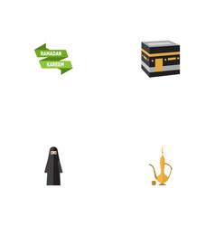 Flat icons pitcher ramadan kareem muslim woman vector