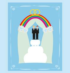 gay marriage cake card design vector image