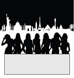 Girl silhouette set front of famous monument vector