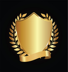 gold and black shield with gold laurels 09 vector image