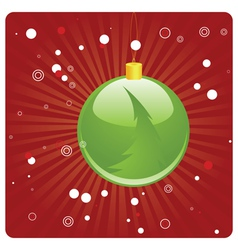 Green Christmas ball on red background vector image