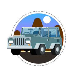 Grey offroad truck icon vector