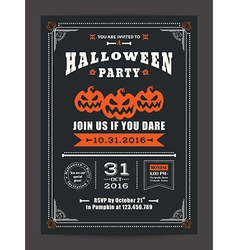 Halloween night party invitation card poster flyer vector image