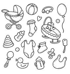 Hand drawn set shower elements vector