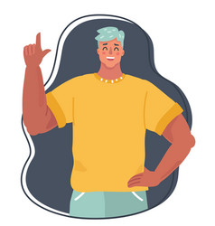 handsome young man holding up his index finger vector image