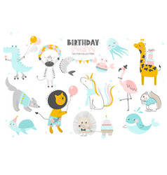 Happy birthdaycute animals hand drawn style vector