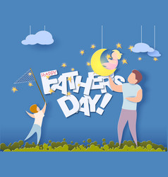Happy fathers day card paper cut style vector
