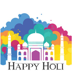 Happy holi taj mahal with abstract traditional vector