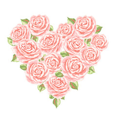 heart background with pink roses vector image