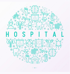 hospital concept in circle with thin line icons vector image