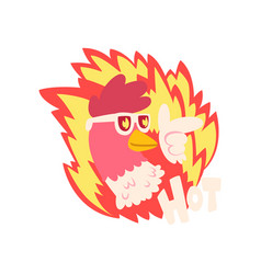 Hot spicy fire chicken wearing cool sunglasses vector