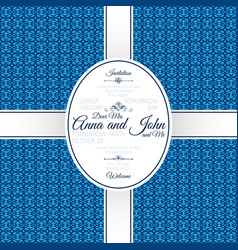 Invitation card with blue geometric pattern vector