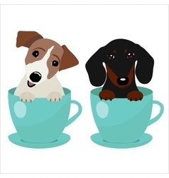 Jack Russell Terrier and Dachshund dog in blue vector