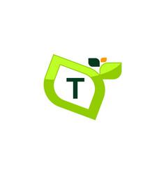leaf initial t logo design template vector image