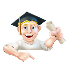 learning graduate man pointing down vector image