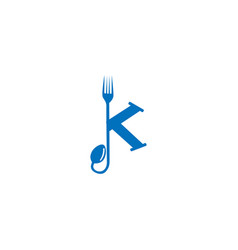 letter k fork and spoon logo vector image