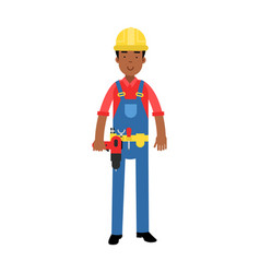 Male construction worker character in overalls vector