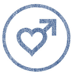 Male heart rounded fabric textured icon vector