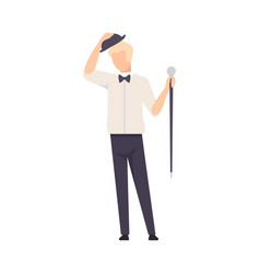 man in shirt and in hat and with cane greeting vector image