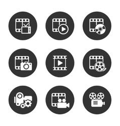 Media icon pack on black background vector image