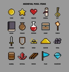 Medieval pixel items vector