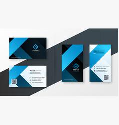 Modern blue theme business card template design vector