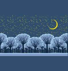 night winter landscape with snowy park trees vector image